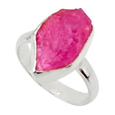925 silver 6.26cts natural pink ruby rough solitaire ring jewelry size 6 r48984