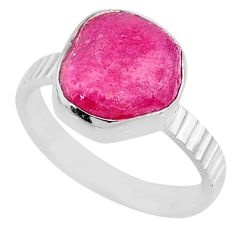 925 silver 7.30cts natural pink ruby rough solitaire ring jewelry size 8 r72068