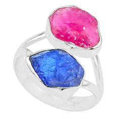 925 silver 11.57cts natural pink ruby raw tanzanite rough ring size 8 r73960