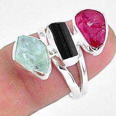 925 silver 11.57cts natural pink ruby rough tourmaline rough ring size 7 r93120