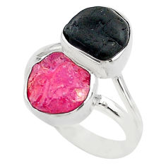 925 silver 10.84cts natural pink ruby raw tourmaline rough ring size 8 t20984