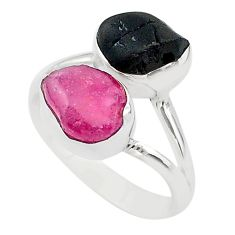 925 silver 10.31cts natural pink ruby raw tourmaline rough ring size 8 t20999