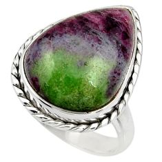 925 silver 17.81cts natural pink ruby zoisite solitaire ring size 8.5 r26493