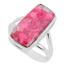 925 silver 10.39cts natural pink thulite solitaire ring jewelry size 9 r95796