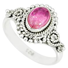 925 silver 1.46cts natural pink tourmaline oval solitaire ring size 6.5 r82216