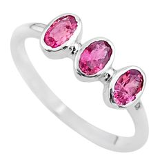925 silver 1.77cts natural pink tourmaline oval solitaire ring size 7 t33064