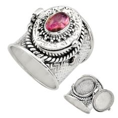925 silver 2.13cts natural pink tourmaline poison box ring size 7.5 r30687