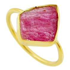 925 silver 6.65cts natural pink tourmaline raw 14k gold ring size 8 r70987
