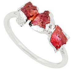 925 silver 3.64cts natural pink tourmaline raw fancy ring size 8 r70717