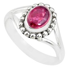 925 silver 1.53cts natural pink tourmaline solitaire handmade ring size 6 r82184