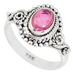 925 silver 1.46cts natural pink tourmaline solitaire handmade ring size 6 r82204