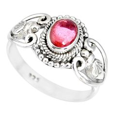 925 silver 1.42cts natural pink tourmaline solitaire ring jewelry size 8 r82347