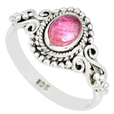 925 silver 1.43cts natural pink tourmaline solitaire handmade ring size 9 r82208
