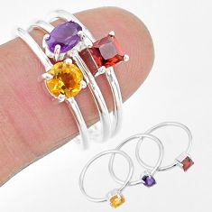 925 silver 2.98cts natural purple amethyst citrine garnet 3 rings size 8 t17735