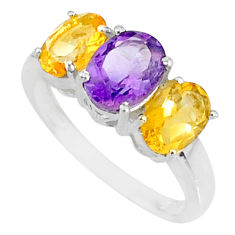 925 silver 5.33cts natural purple amethyst citrine oval ring size 8 r84067