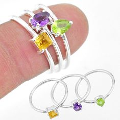 925 silver 2.72cts natural purple amethyst citrine peridot 3 rings size 7 t17727