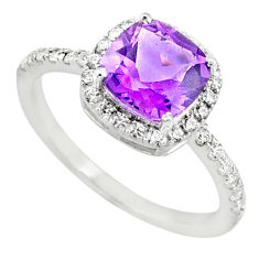 925 silver 4.20cts natural purple amethyst cushion zircon ring size 9 r71224