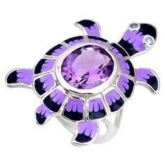925 sterling silver natural purple amethyst enamel tortoise ring size 7.5 c16865