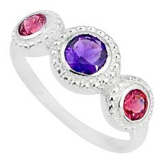 925 silver 2.36cts natural purple amethyst garnet round ring size 6.5 r83924