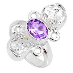 925 silver 12.39cts natural purple amethyst herkimer diamond ring size 6 r61673