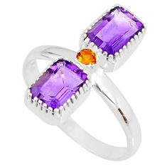 925 silver 3.32cts natural purple amethyst octagan citrine ring size 9 r77244