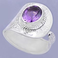 925 silver 4.40cts natural purple amethyst oval adjustable ring size 7.5 r54903