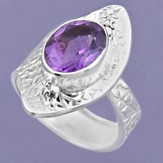 925 silver 4.05cts natural purple amethyst oval adjustable ring size 6 r54724
