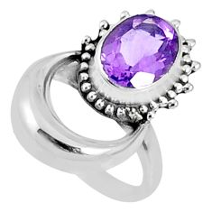 925 silver 4.25cts natural purple amethyst oval solitaire ring size 5.5 r67286