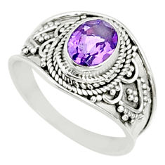 925 silver 2.20cts natural purple amethyst oval solitaire ring size 8.5 r69194