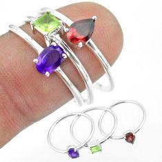 925 silver 2.82cts natural purple amethyst peridot garnet 3 rings size 8 t51009