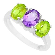 925 silver 5.40cts natural purple amethyst peridot oval ring size 8.5 r84085