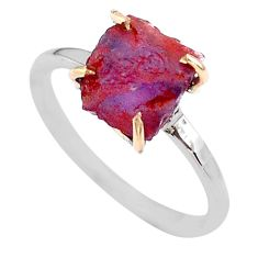 925 silver 3.96cts natural purple amethyst raw 14k gold ring size 8 t47140
