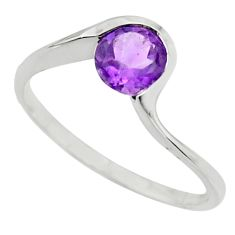 925 silver 1.31cts natural purple amethyst round solitaire ring size 8.5 r25924