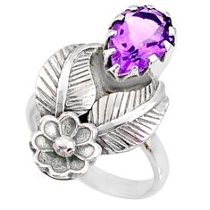 925 silver 4.35cts natural purple amethyst solitaire ring jewelry size 6 r67484