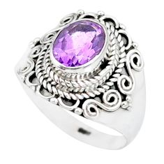925 silver 2.21cts natural purple amethyst solitaire ring jewelry size 6 r87048