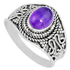 925 silver 1.96cts natural purple amethyst solitaire ring jewelry size 8 r58565