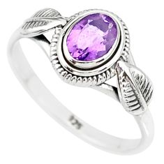 925 silver 1.45cts natural purple amethyst solitaire ring jewelry size 8 r85580