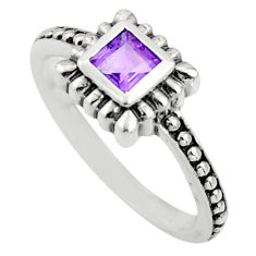 925 silver 0.61cts natural purple amethyst square solitaire ring size 6.5 r25444