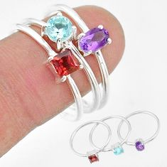 925 silver 3.14cts natural purple amethyst topaz garnet 3 rings size 9 t17738