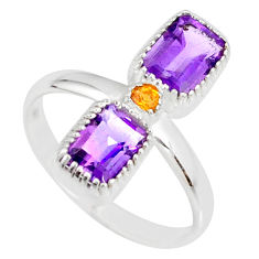 925 silver 3.36cts natural purple amethyst yellow citrine ring size 10 r77240