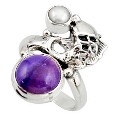 925 silver 6.31cts natural purple charoite (siberian) fish ring size 7.5 d46084