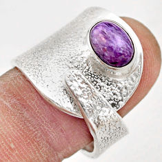 925 silver 2.35cts natural purple charoite (siberian) oval ring size 7.5 r21938