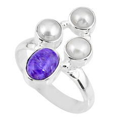 925 silver 4.92cts natural purple charoite (siberian) pearl ring size 8 r57554