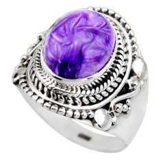 925 silver 5.27cts natural purple charoite oval solitaire ring size 6.5 r53369
