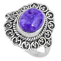 925 silver 4.85cts natural purple charoite oval solitaire ring size 8.5 r57516