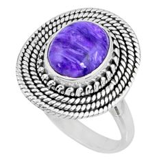 925 silver 4.19cts natural purple charoite oval solitaire ring size 8.5 r57537