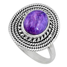 925 silver 4.38cts natural purple charoite oval solitaire ring size 9 r57513