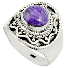 925 silver 3.02cts natural purple charoite round solitaire ring size 7 r22044