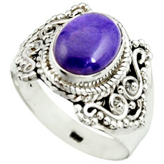 925 silver 4.18cts natural purple charoite solitaire ring size 8.5 r22053