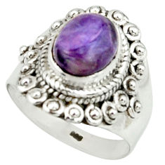 925 silver 4.21cts natural purple charoite solitaire ring size 7 r22060